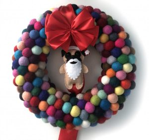 Felt ball pug santa wreath